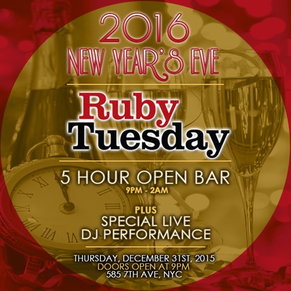 Ruby Tuesday New Years Eve